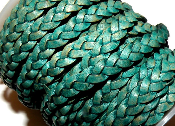 Vintage Turquoise Braided Leather 5mm