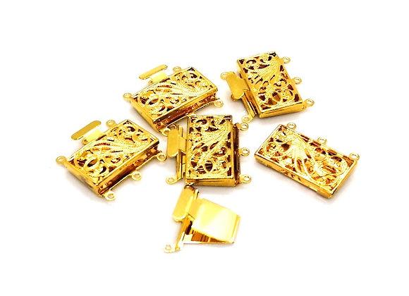Bright Gold Large 3 Strand Box Clasp