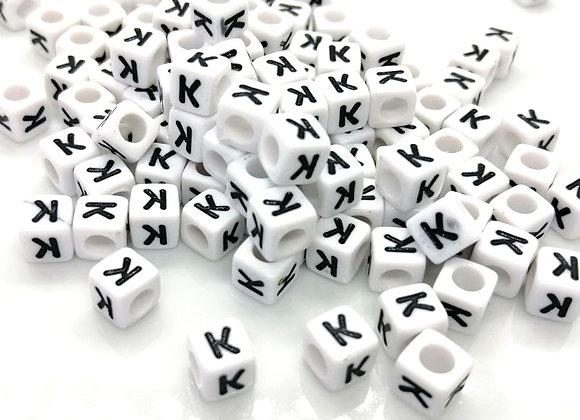 Acrylic Cube Letter K Pony Bead