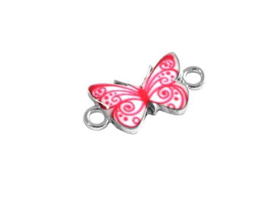 Zamak Metal Enamelled Connector Butterfly Link - Pink