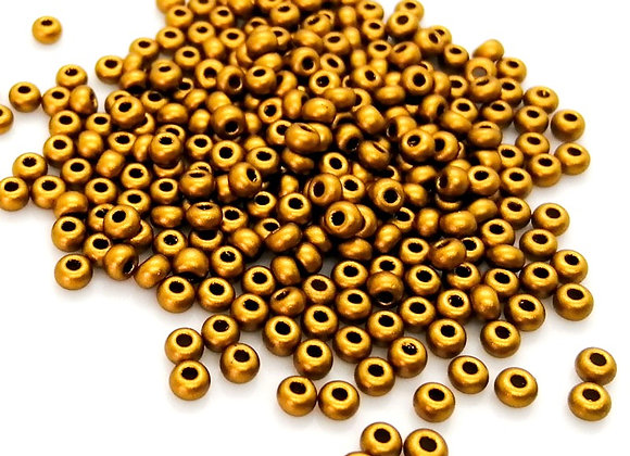 Glass Seed Bead 8/0 - Matte Gold Pack of 800+