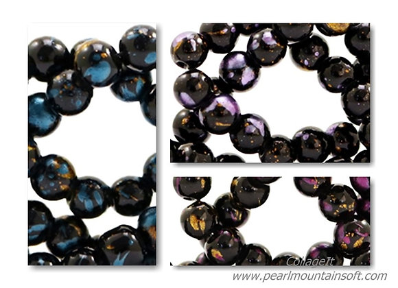 Glass Round Black/Gold Mix Bead 4mm - Choice of Colours