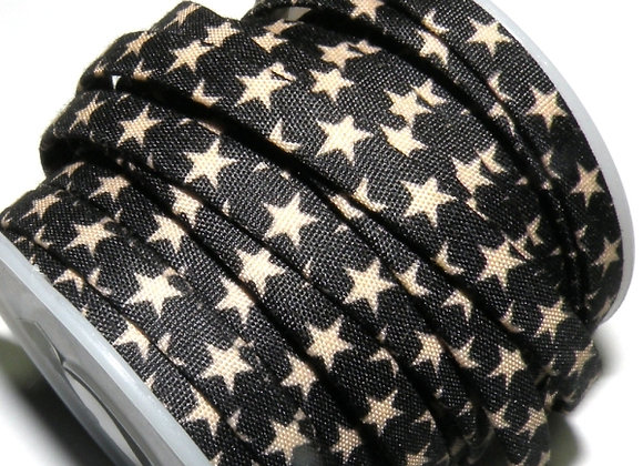 Flat Fabric Cord 5mm - Star Print