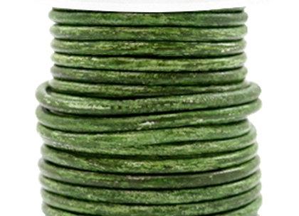 Designer Quality Vintage Classic Green Metallic  3mm Round Leather