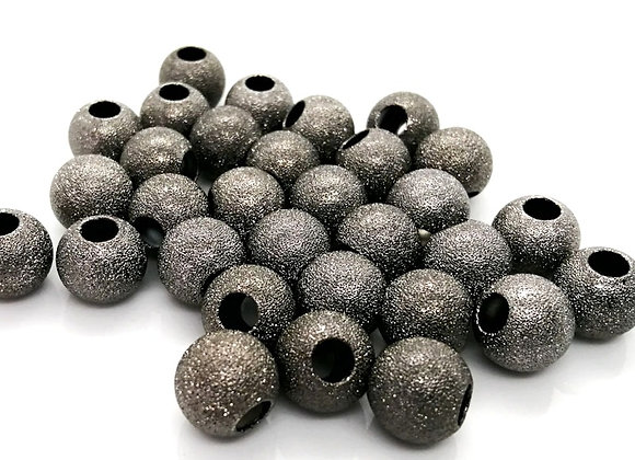Large Hole Round Beads 11mm - Graphite Stardust