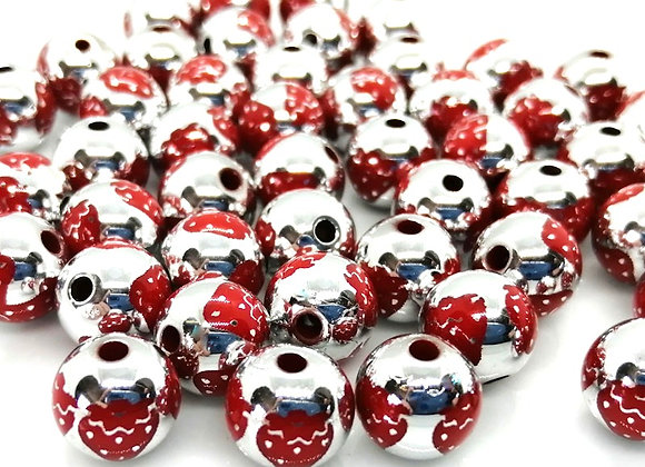 Jewellery making beads bright silver strawberry print round bead
