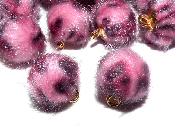 Faux Fur Pompom Charms Pink Pack of 2