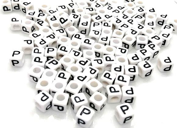 Acrylic Cube Letter P Pony Bead