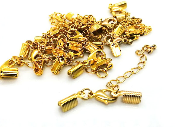 Fold Over Cord End with Clasp & Chain Bright Gold - 4mm Hole