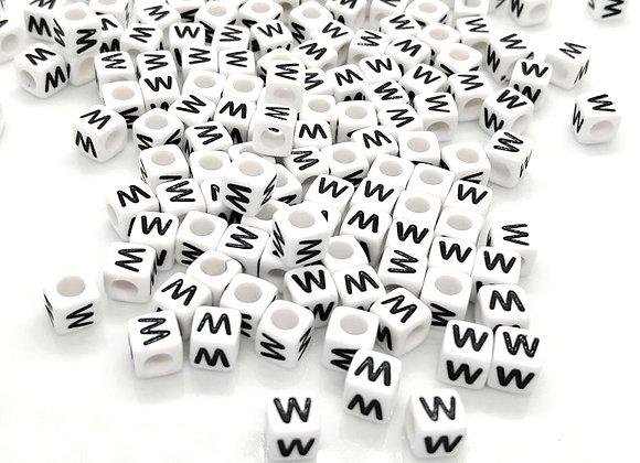 Acrylic Cube Letter W Pony Bead