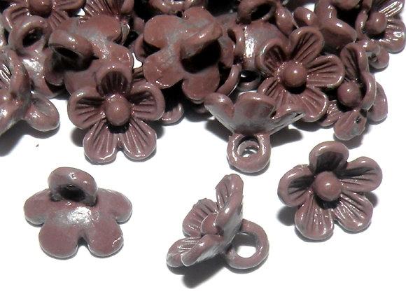 Metal Flower Charm - Brown