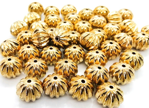 Acrylic corrugated pattern gold coloured bead