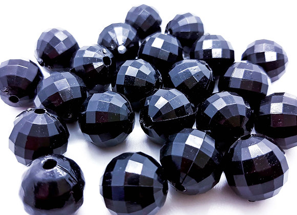 15mm Acrylic Faceted Bead - Black