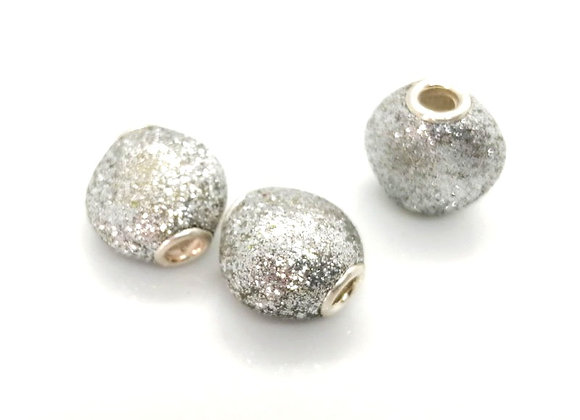 Large Hole Flat Rounded Glitter Bead - Silver