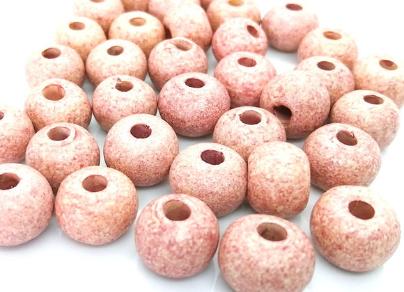 Stone Washed Ceramic Beads - 15mm Pinky Beige