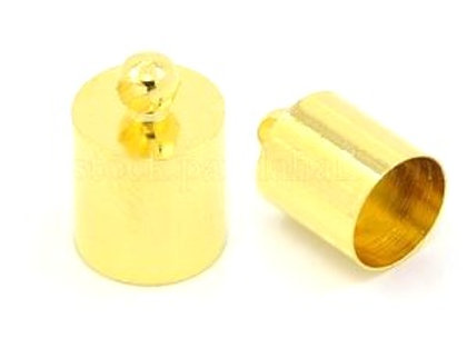 Gold Cord End 7mm Hole - Pack of 2