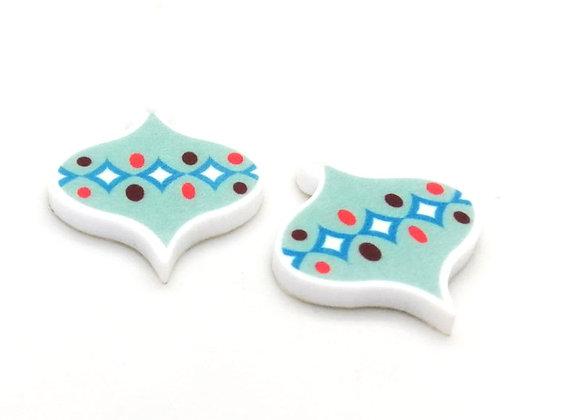 Retro Charms Soft Aqua Pack of 2