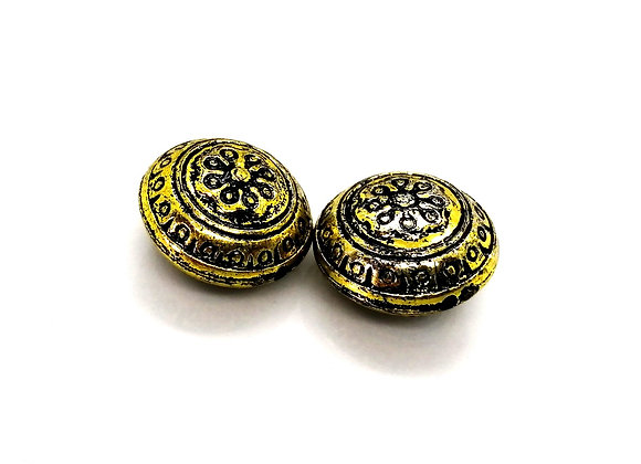 CCB Patterned Disc Bead 25mm - Antique Gold