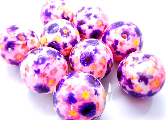 Large Round Beads 25mm - Pink/Purple Floral Print