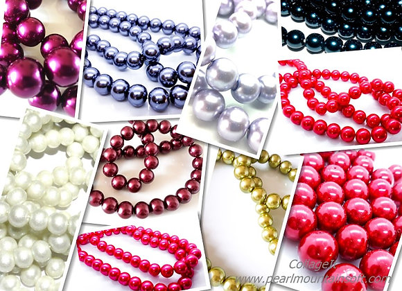 Glass Pearl Beads 14mm - Choice of Colours
