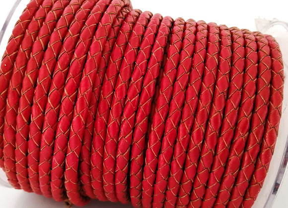 Hollow Braided 4mm Bolo Leather - Bright Red