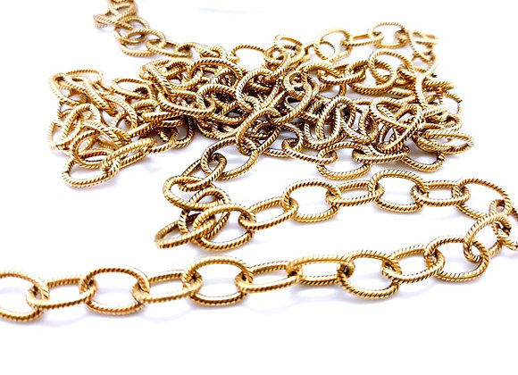 Antique Gold Textured Cable Chain 10mm