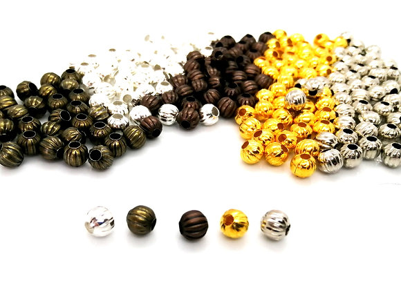 Small Metal Corrugated Bead 6mm - Choice of Colours