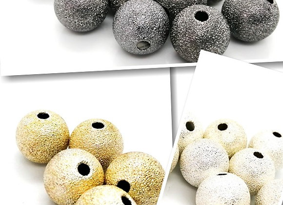 Metal Round Stardust Beads 14mm - Choice of Colours