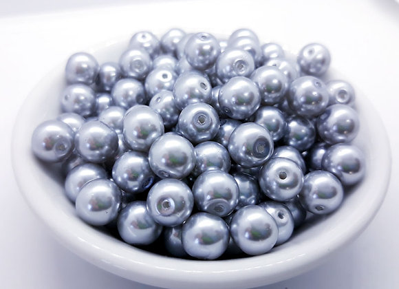 Glass Pearl Beads 8mm Silver Grey - Pack of 50