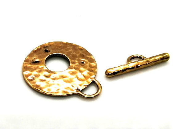 Antique Gold Hammered Metal Round Toggle Clasp
