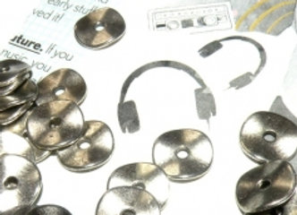 Tibetan Style Wavy Disc Bead 10mm - Silver
