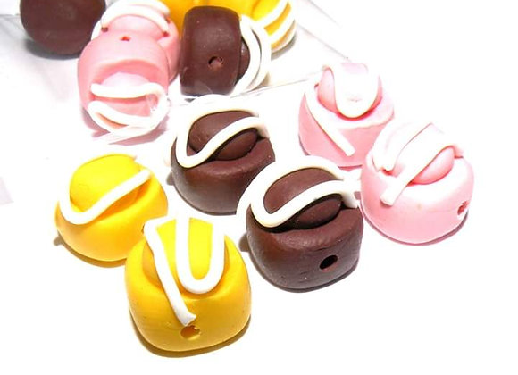 Handmade Clay French Fancy Cake Beads - Choice of Colours