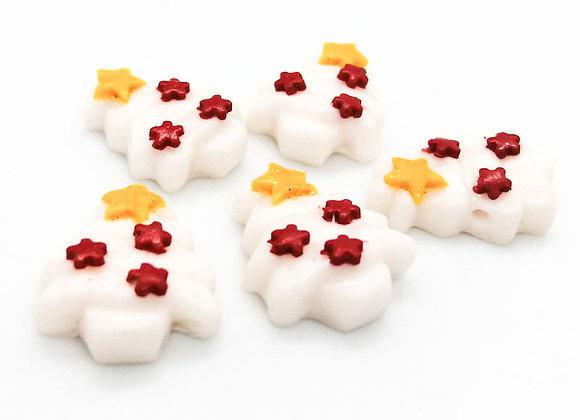 White Sparkly Xmas Tree Bead Pack of 2