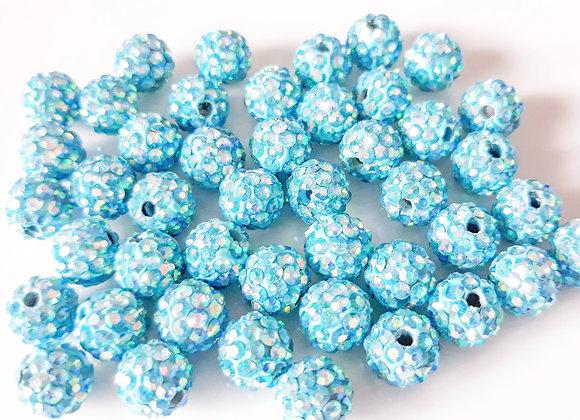 Polymer Clay Rhinestone Bead Light Blue 8mm