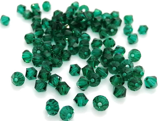 Czech Crystal Bicones 4mm Emerald Pack of 50