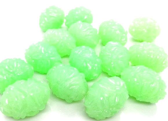 Floral textured acrylic green bead jewellery making beads uk