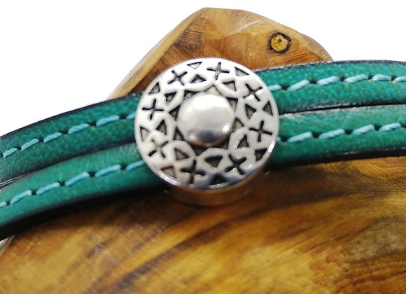Tibetan Style Metal Round Patterned Slider Bead - 10mm Hole - Choice of Colours
