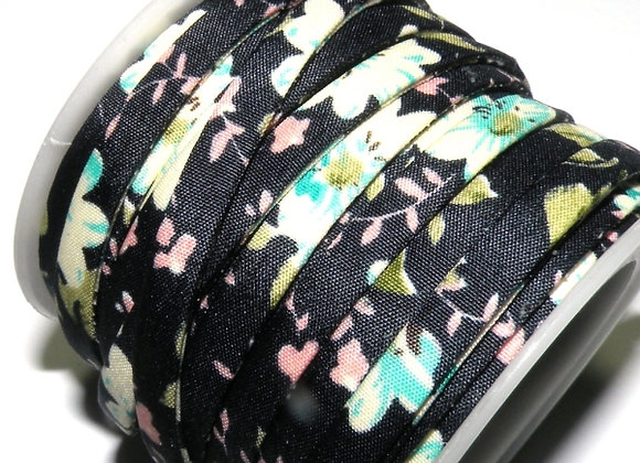 Flat Fabric Cord - Navy Floral Print