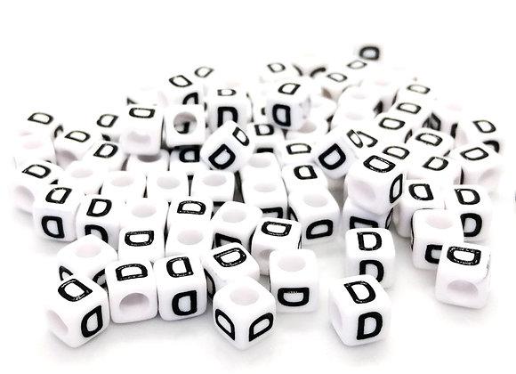 Acrylic Cube Letter D Pony Bead