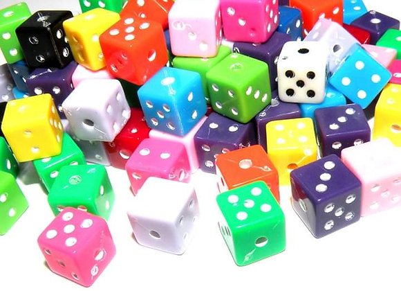 Dice Cube Beads 8mm - Multicolour Mix - Pack of 25