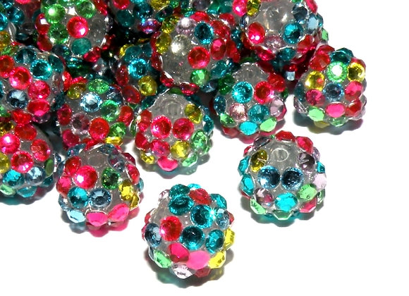 Resin Rhinestone Disco Ball Shamballa Bead Multi