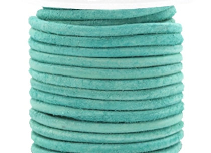 Designer Quality Antique Turquoise Green 3mm Round Leather