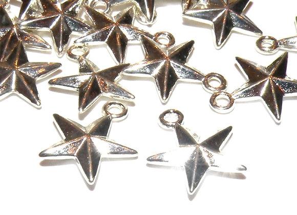 3D Silver Star Charm