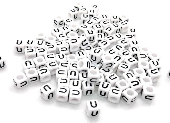 Acrylic Cube Letter U Pony Bead