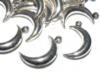 Metal Crescent Moon Charm Pack of 10