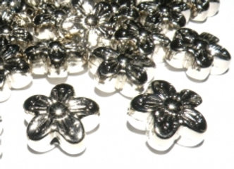 Flower Shaped Bead 15mm - Silver
