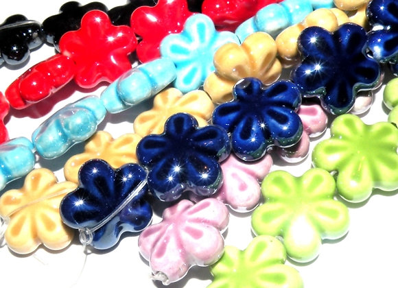 Pearlised Porcelain Flower Beads 19mm - Choice of Colours