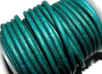 Dark Turquoise Vintage Round Leather 3mm