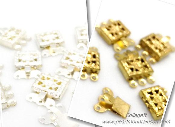 Bright 3 Strand Box Clasp - Gold & Silver