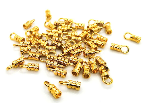 Gold Cord End 2mm Hole - Pack of 2